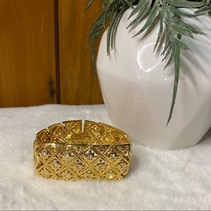 Women's Chunky Thick Gold Band Vintage Beaded Jeweled Bracelet Costume Jewelry